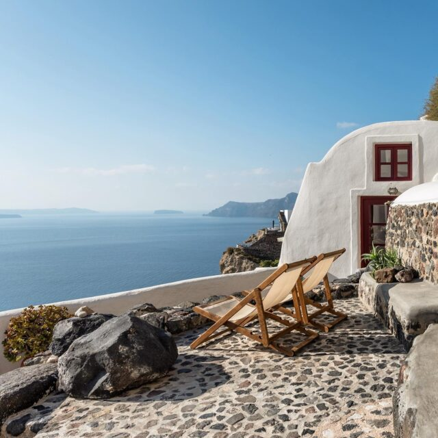 The terrace at one of Cycladica's villas on Santorini